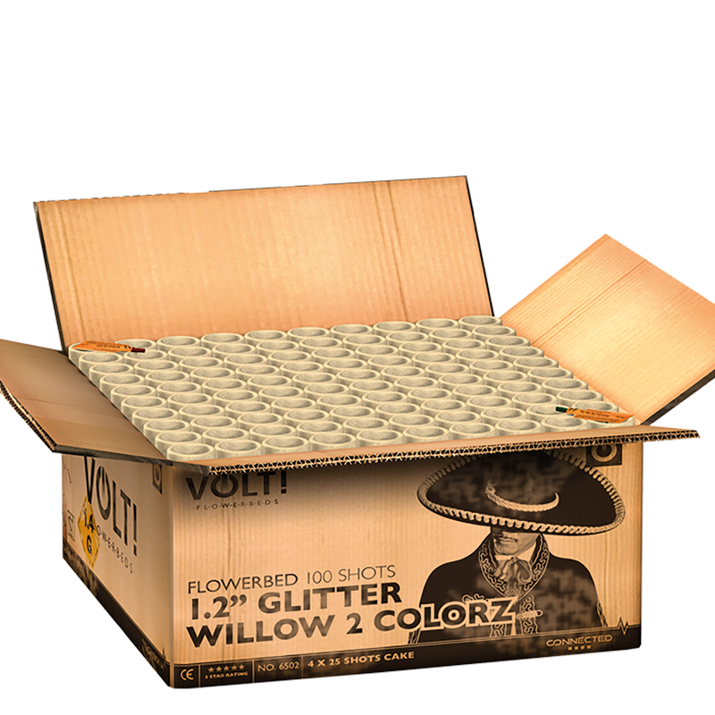 Palletvoordeel 1 – FF 5000 Max Charge Box + Volt! 1.2″ Glitter Willow 2 Colorz + 2x X-treme Crackling Sky (7