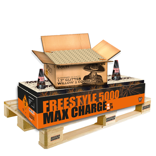 "Palletvoordeel 1 - FF 5000 Max Charge Box + Volt! 1.2"" Glitter Willow 2 Colorz + 2x X-treme Crackling Sky (7.5 kg kruit)"
